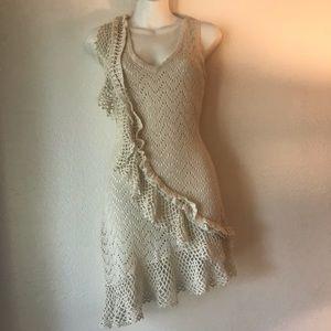 Marciano beige sweater asymmetric ruffle dress